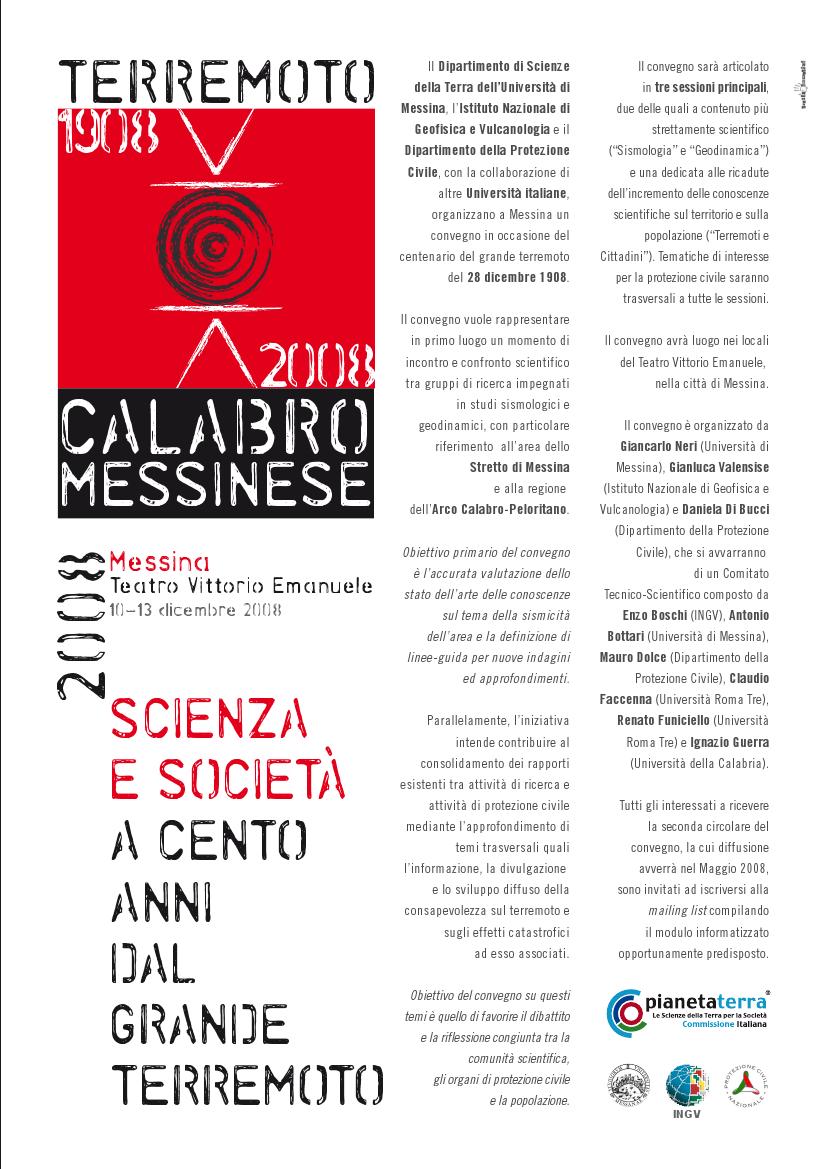 Convegno 1908-2008 Scienza e Società a cento anni dal grande Terremoto, Reggio Calabria, 10-12 dicembre 2008
